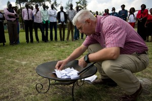The papers are burned to symbolize God's work of healing and restoration. Beauty from ashes...