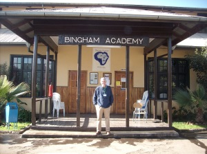 Mark standing outside Bingham Academy -a school for missionary kids in Ethiopia
